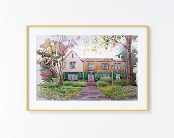 Original Watercolor Painting,Watercolor Painting,landscape,San Antonio, W Elsmere Pl