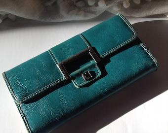 Liz Claiborne Turquoise Genuine Leather Women's Checkbook Wallet / Clutch