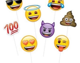 Emoji photo booth props 8pc set, Emoji props, Emoji theme birthday, smiley photo props, emoticons.