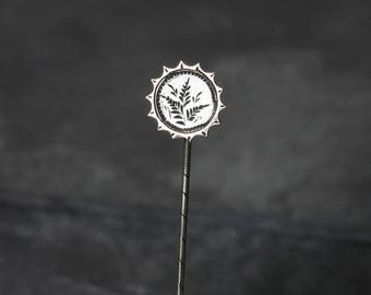 Antique Victorian Silver and Rose Gold Ferns Stick Pin, Lapel Pin,