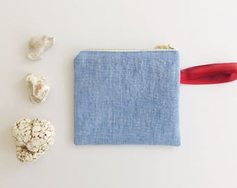 Linen Zip Pouch - Blue/White/Red