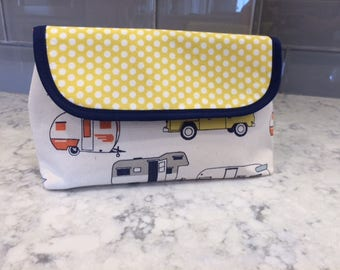 Camper Makeup Bag with Brush Holder. Makeup Bag. Cosmetic Bag. Makeup Organizer. Travel Bag.