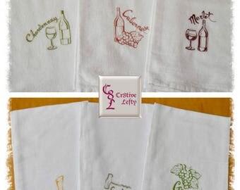 Grapes Corkscrew Cabernet Merlot Chardonnay Decanter Embroidered Flour Sack Towels Set of 6
