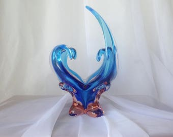 Very original glass bowl blown - four branches (arms) - shades of pink blue glass crystal clear - Glass Art - Retro