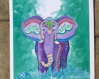 "Purple Elephant print (8.5x11"")"