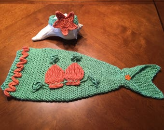 Sale! 6-12 month size Crochet Baby Mermaid Tail Set, Photo Prop, Costume, Baby Gift