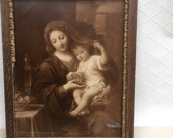 Antique French Jules Hautecoeur Paris Framed Photography Print of 'Vierge a la Grappe' beautiful Virgin Mary and jesus child.