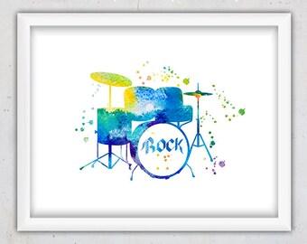 Music Art Print, Nursery Print, Boy Nursery Decor, Rock Drums Print, Watercolor Print, Instant Download Wall Decor, Printable Digital Art