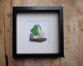 sea glass art picture / sea glass boat / boat picture / family of two / sailing gift idea / boat gift / pebble art picture / boat decor