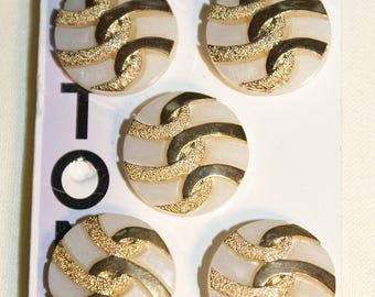 A set of 5 Vintage Impex White & Gold Plastic Buttons on Original Card 18mm