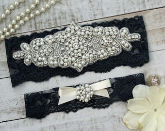 Navy Bridal Garter Set NO SLIP grip vintage rhinestones, pearl and rhinestone garter set, Something Blue