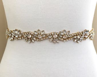 Gold crystal Bridal Belt, Bridal Sash, Wedding Belt, Wedding Sash Rhinestone prom belt