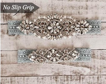 Wedding Garter, NO SLIP Lace Wedding Garter Set, bridal garter set, vintage rhinestones, pearl and rhinestone garter set