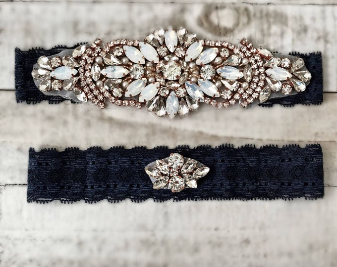 Something Blue Bridal Garter, navy garter, NO SLIP Lace Wedding Garter Set, bridal garter set, vintage rhinestones, pearl and rhinestone gar