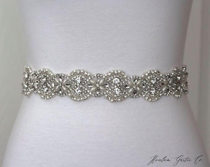 Pearl Bridal Belt, Bridal Sash, Wedding Belt, Wedding Sash Rhinestone and Pearl Sash