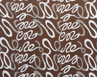 Fabric Aries - Arabesque chenille velvet gray fabric on Brown background - upholstery fabric - Robert fabrics - sold by the yard only