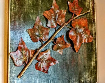 Tree limb and leaves wood canvas