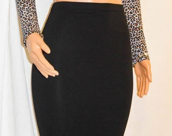 Black Extra long Ponte Pencil Midi Skirt