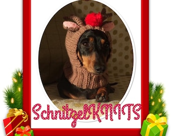 Rudolph the red nose reindeer hood/hat..Christmas fancy dress for dogs