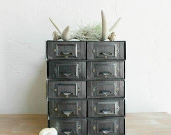VACATION SALE 5 Vintage File Drawers, Cardboard File Box, Apothecary Cabinet, Wedding Centerpiece, Event Decor, Craft Organizer, Storage Bin