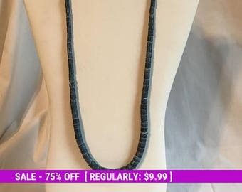 Vintage Slate Blue Bead Necklace, Retro, Edtste Jewelry