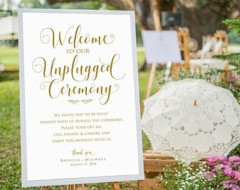 Gold Wedding Unplugged Sign, unplugged wedding ceremony, Unplugged Ceremony Sign, No Cell Phone Sign, UNPLUGGED WEDDING Sign, WPC_1086