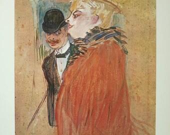 Henri de Toulouse - Lautrec exhibition poster - Couple - vintage museum print