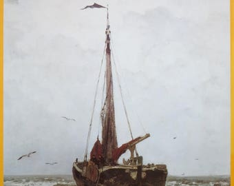 The Hague school exhibition poster - 19th century - beach sea maritime ship - Dutch masters - Haags gemeentemuseum - vintage print - 1983