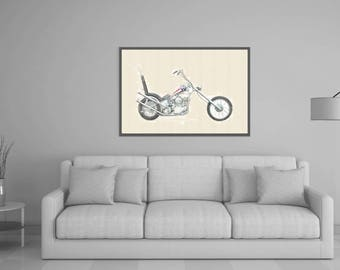 80%OFF Watercolor Motorbike Art, Digital Painting, Harley Davidson, Harley chopper Download, Easy Rider Poster, Motorbike Printable