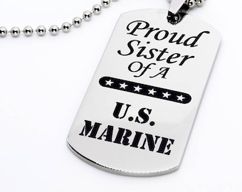 Dog Tag, Military Style Dog Tag, Stainless Steel Dog Tag, Jewelry Dog Tag, Personalized Dog Tag, Military Style Jewelry, Proud Sister