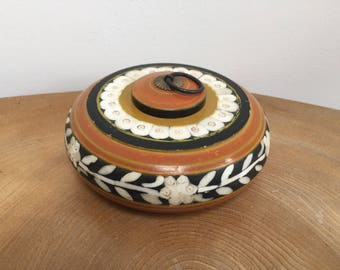 Vintage Hand Painted and Camel Bone Inlaid Tobacco, Trinket or 'Opium' Box - flowers, leaves, mustard yellow and russet bands