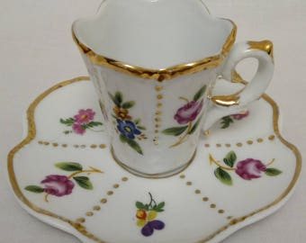 SOLD!!! Manufaktur Porzellan MO Deutschland, Manufactur Porcelain MO Germany, Demitasse Cup and Saucer, Floral Design, Hand Worked