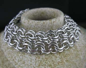 Vintage Sterling Silver Linked Chain Bracelet, Vintage Chain Jewelry
