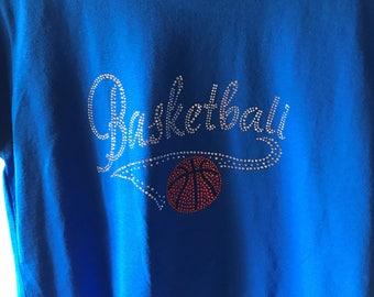 Rhinestone Basketball Scoop Neck T-Shirt/Royal Blue/Short Sleeve/medium/XL