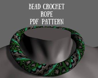 "Pattern ""Snake""Beaded crochet necklace pattern Seed beads crochet rope Bead crochet pattern Beading pattern Beadwork necklace Download beads"