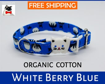 Breakaway cat collar 'White Berry' blue or green organic cotton cat collar with bell, safety cat collar, blue cat collar, kitten collar,