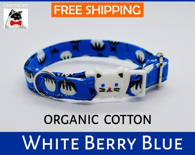 Featured listing image: Breakaway cat collar 'White Berry' blue or green organic cotton cat collar with bell, safety cat collar, blue cat collar, kitten collar,