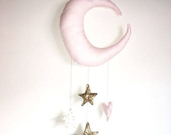 Moon + stars mobile, wall hanging, decor, nursery decor, baby boy, baby girl, magical