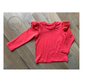 Pink speckle long sleeve flutter T-shirt