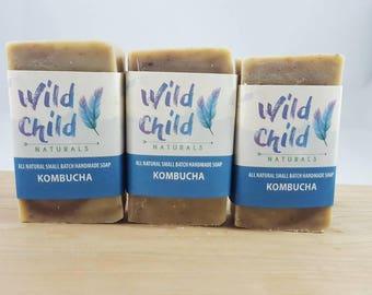 All Natural Handmade Kombucha Soap Bar Cold Process Olive Coconut Oil Shea Butter 3-4 oz. bar Chemical Free Vegan. Anise Lavender.