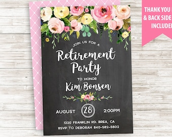 Retirement PARTY Invitation Invite Chalkboard Floral Watercolor Digital Flowers 5x7 Personalized
