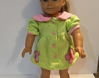 18 inch doll AG Lime green and pink dress