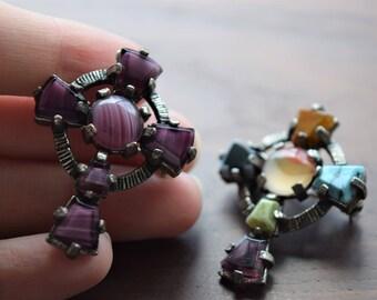 Vintage Celtic Cross Brooch and Pendant Set with Purple Agate