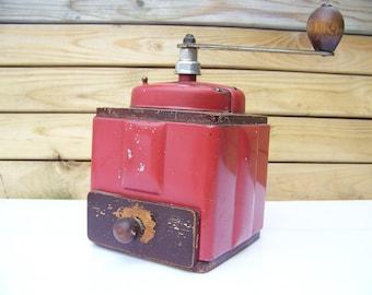 Red enamel painted Peugeot coffee grinder