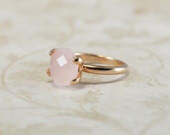Rose Quartz Crystal Ring, Rose Gold or Silver plate Ring,  Round Rose Quartz, Italian Jewelry