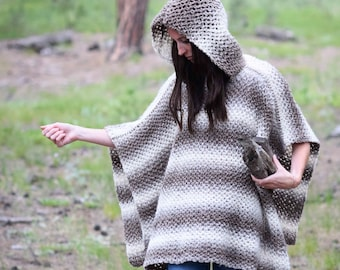 Crochet Pattern, Crocheted Poncho Pattern, Easy Crochet Poncho, Hoodie Crochet Pattern, Poncho with Hood, Beginner Crochet, Fall, Winter