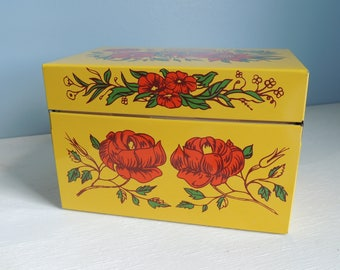 Vintage Metal Recipe Box with Over 100 Vintage/Hard to Find Recipes, Syndicate MFG. CO., Grandmother's Cookbook, Floral Metal Recipe Box