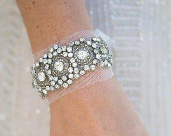 Helen Crystal Bridal cuff, Art Deco style wedding jewellery, 1920s wedding accessory