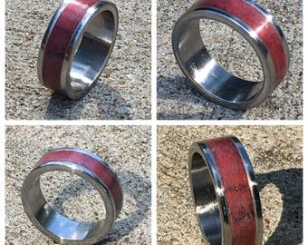 Stainless wooden inlay ring size 8