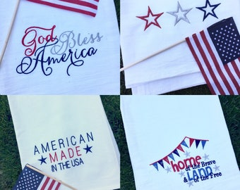 Patriotic Designed Tea Towels,  MixUPick - Add Note, Choose from a set of 3 or A Single towel